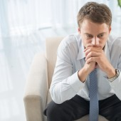 Closeup image of a man in despair