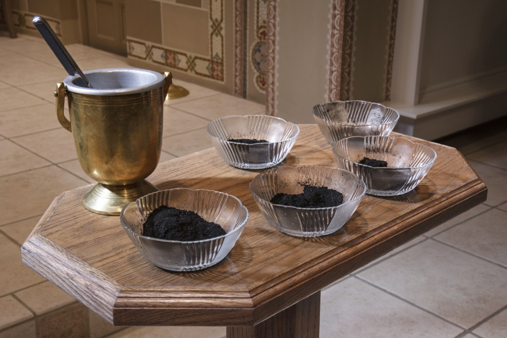 Ashes and water ready for Ash Wednesday service.