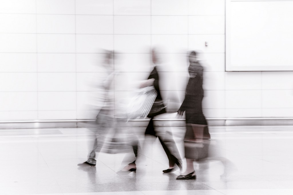Abstract image of commuters.
