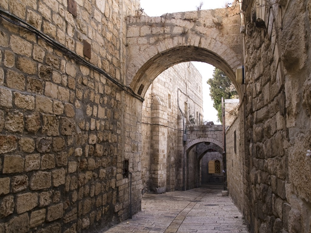 Israel - Jerusalem Old City Alley made with hand curved stones
