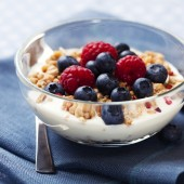 berries in yogurt.
