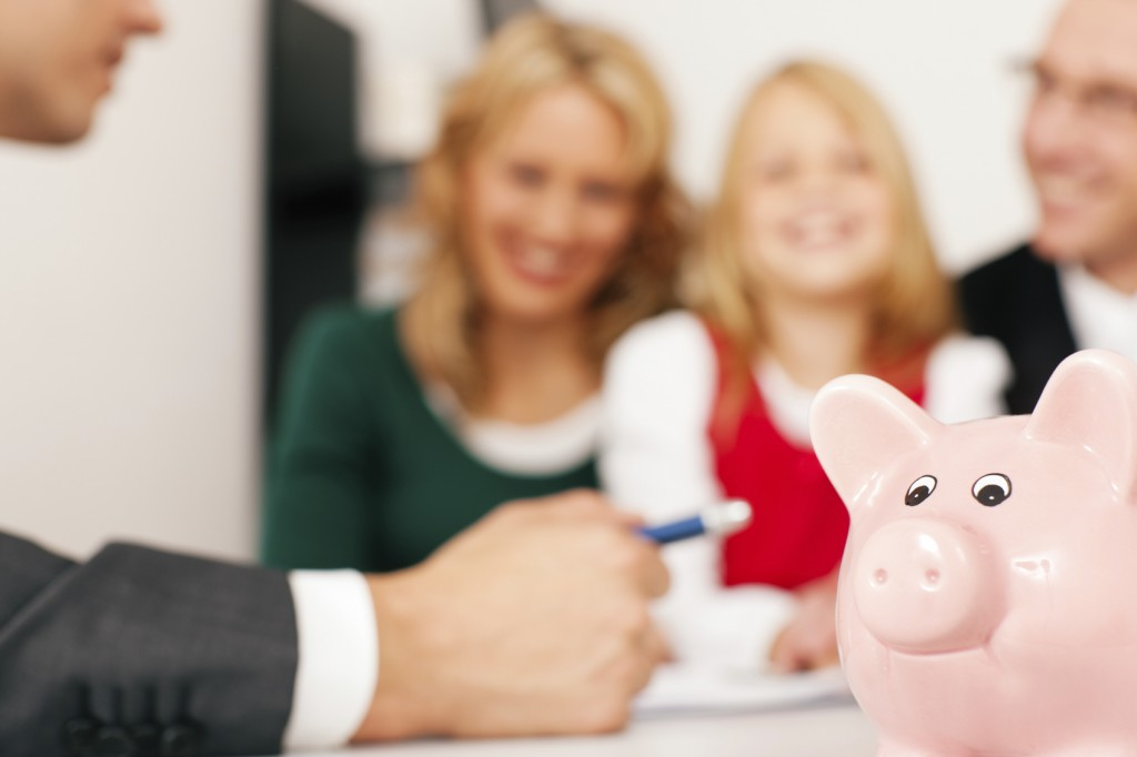 Family and piggybank