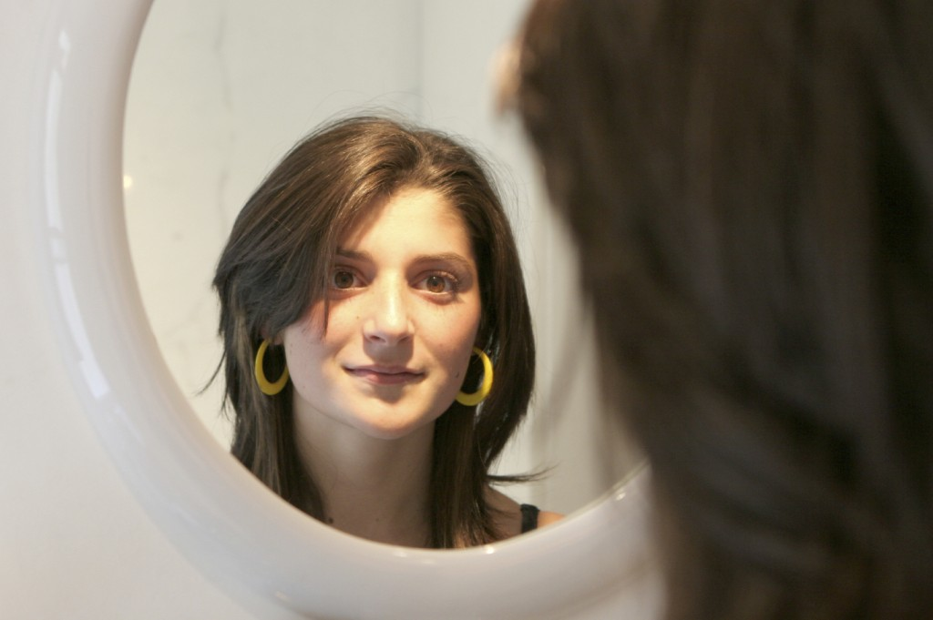 women looking in a mirror