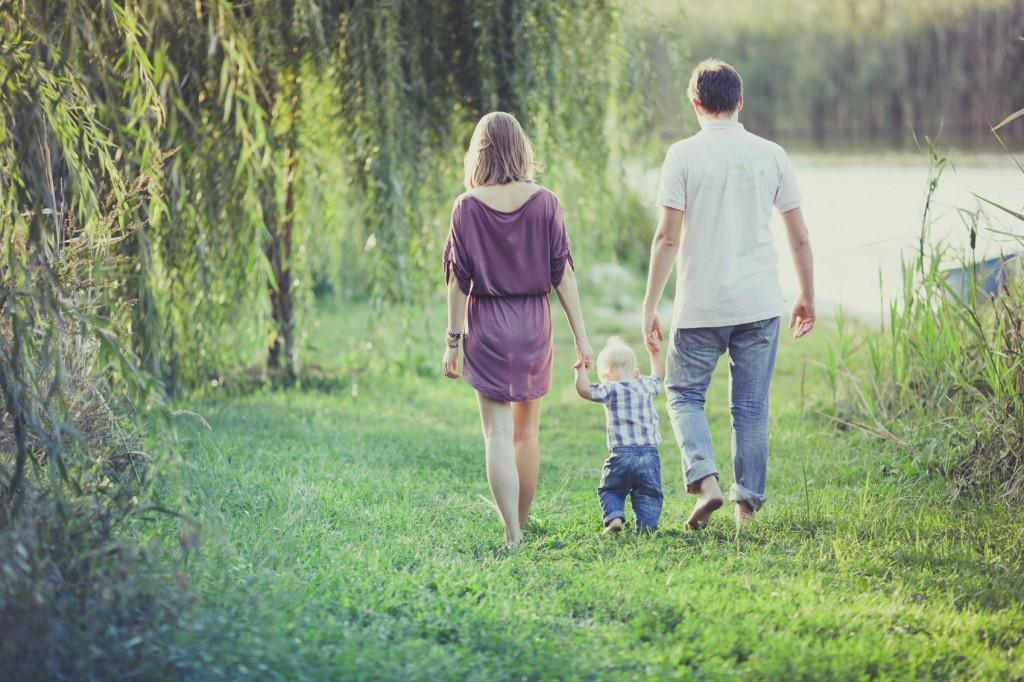 Happy Family of Three People
