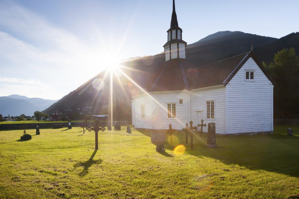 Traditional church in countryside of Norway