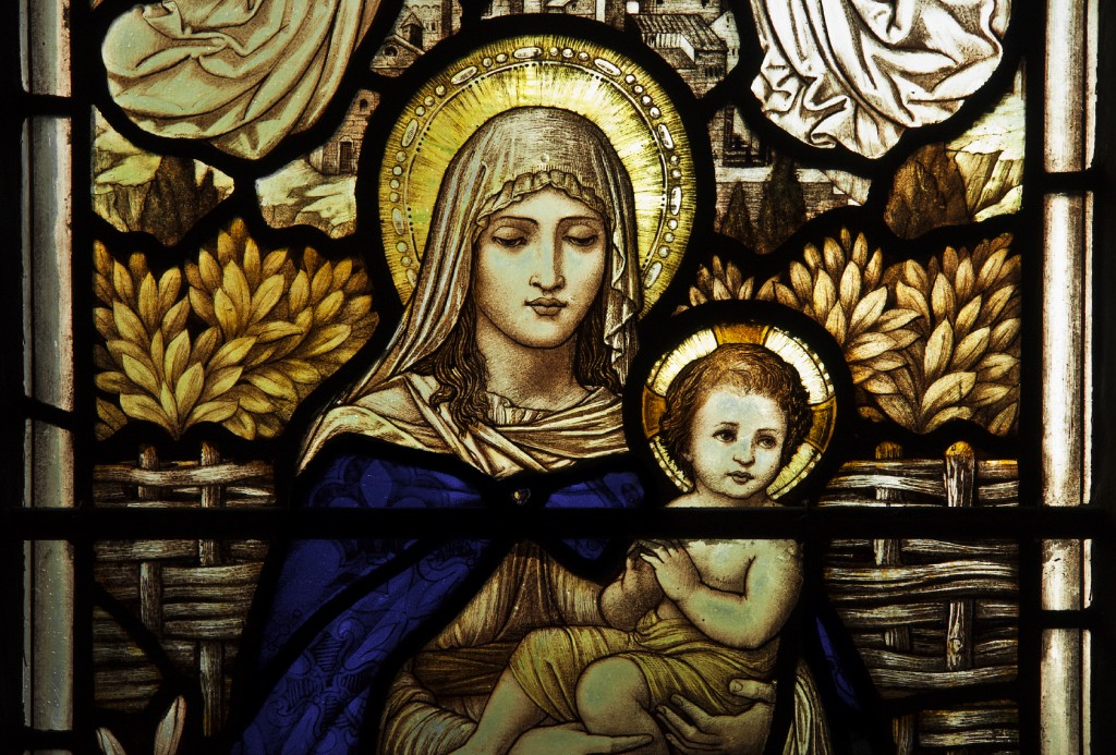 Mary and Jesus stain glass window