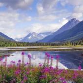 Alaskan mountain and lake landscape.