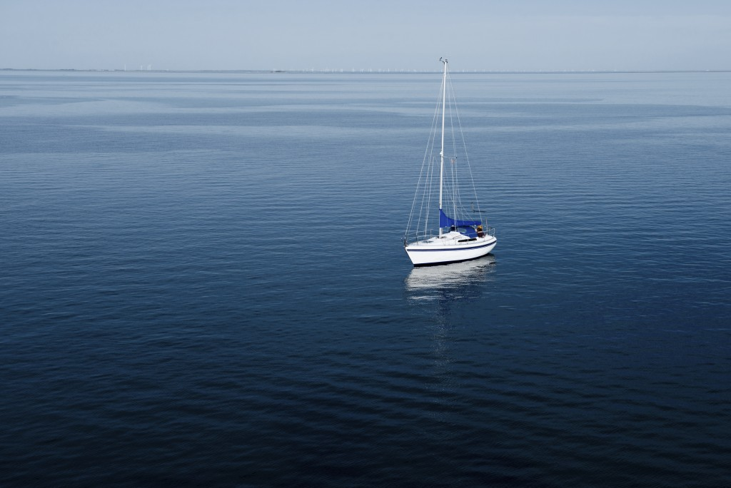 Elevated view of sailing boat on the sea