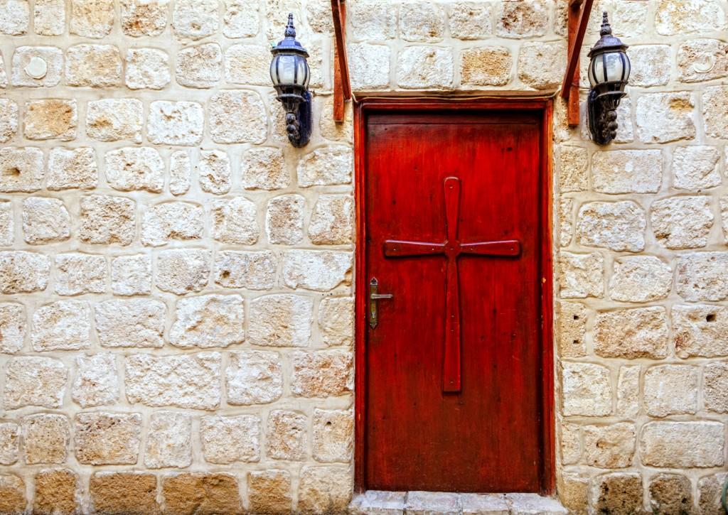 A door of a Christian church in Akko (Acre), Israel