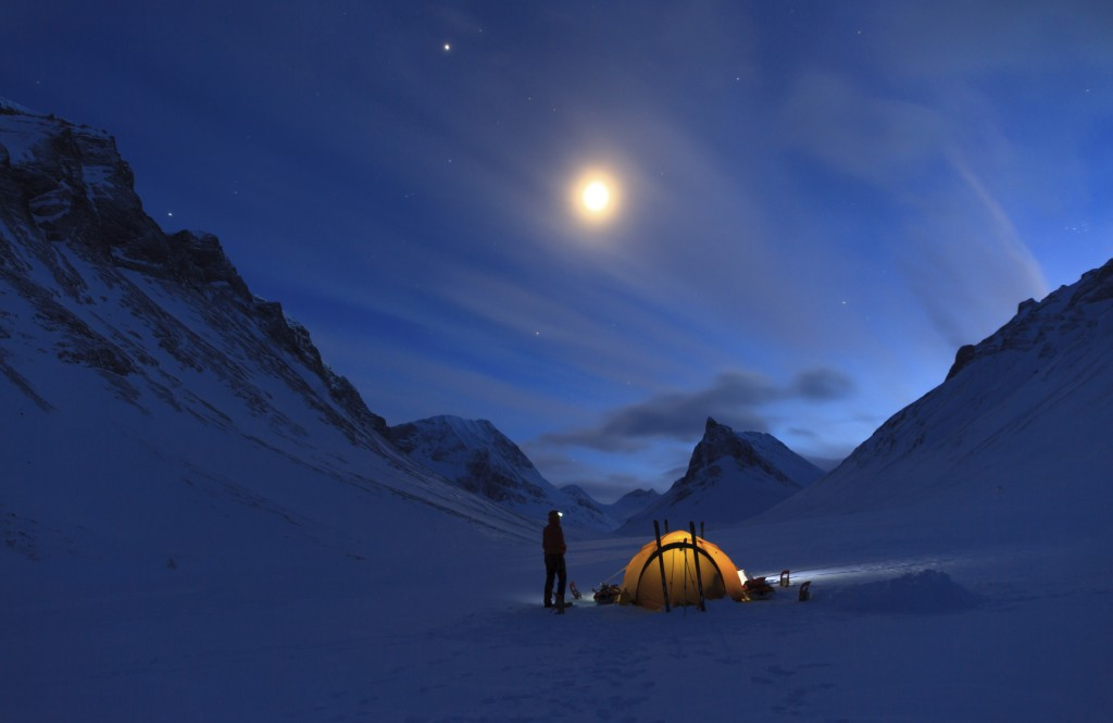 Mountain campsite at night