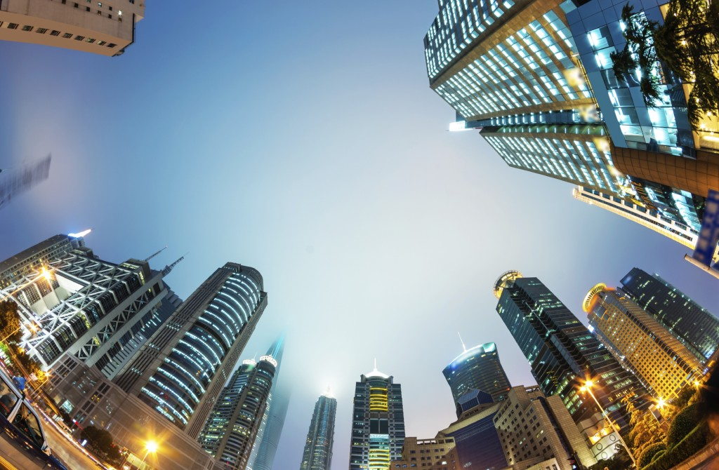 High-rises in Shanghai's new Pudong banking and business district,