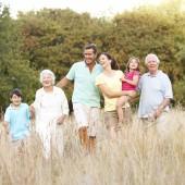 extended family walking in park
