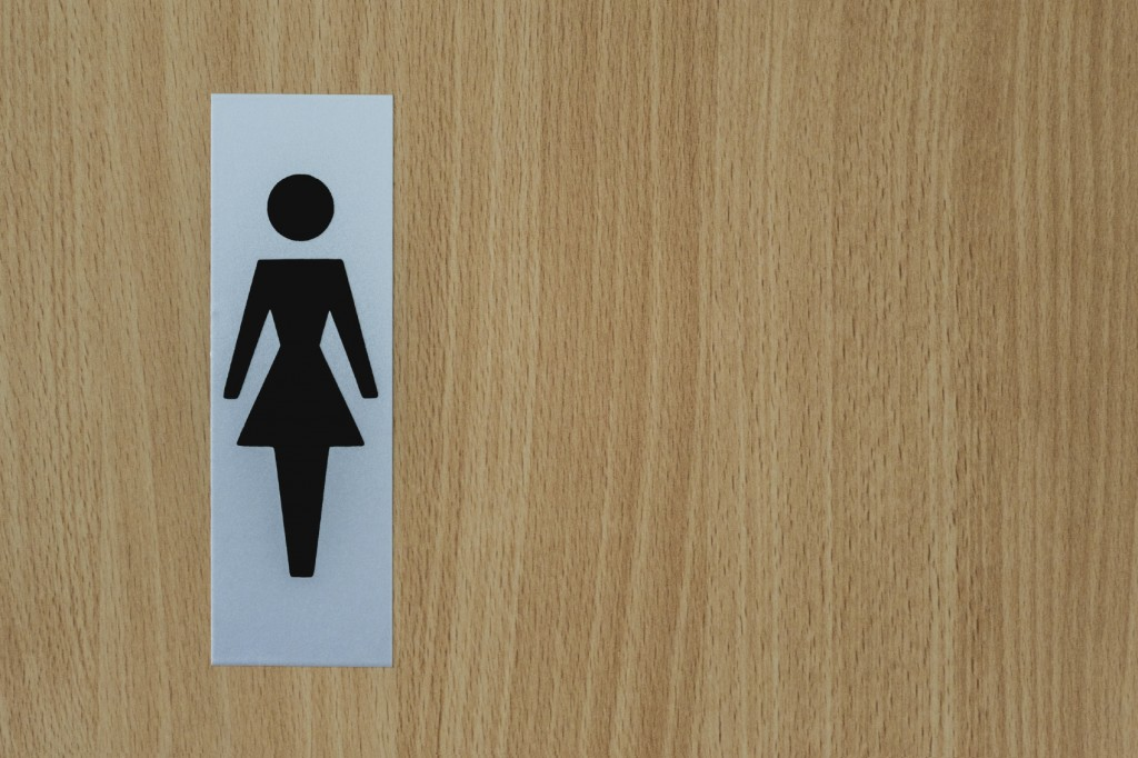womans bathroom door sign
