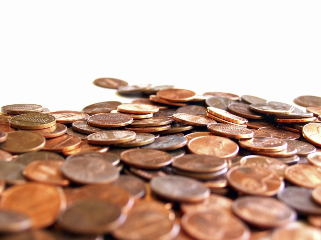 Pile of pennies against white