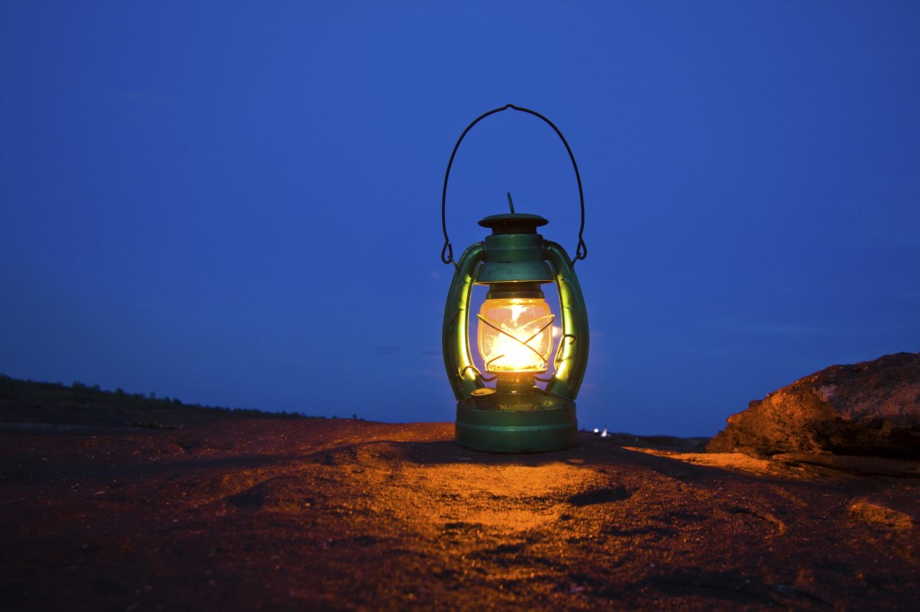 Oil lamp on Mountains at night