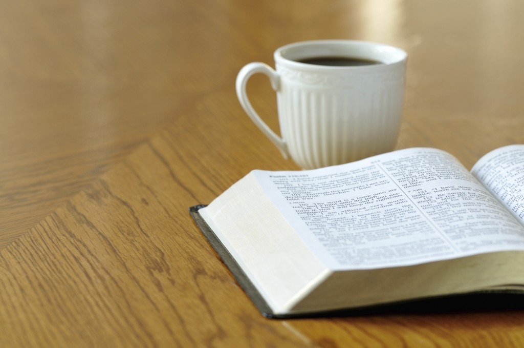 bible study and a cup of coffee.