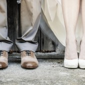 detail view of the feet of a wedding couple