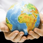 The globe in children's hands