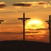 crucifixion at sunset