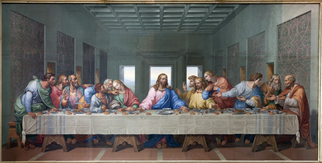 Mosaic of Last supper of Jesus by Giacomo Raffaelli from year 1816 as copy of Leonardo da Vinci