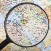 Map of the Middle East under the magnifier