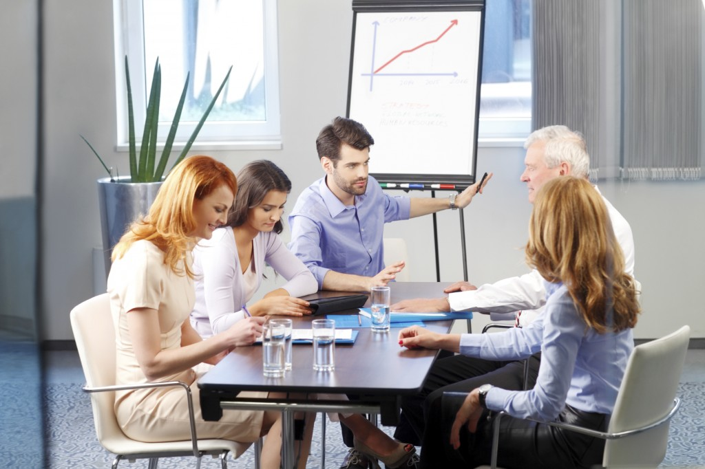Business people discussing at meeting