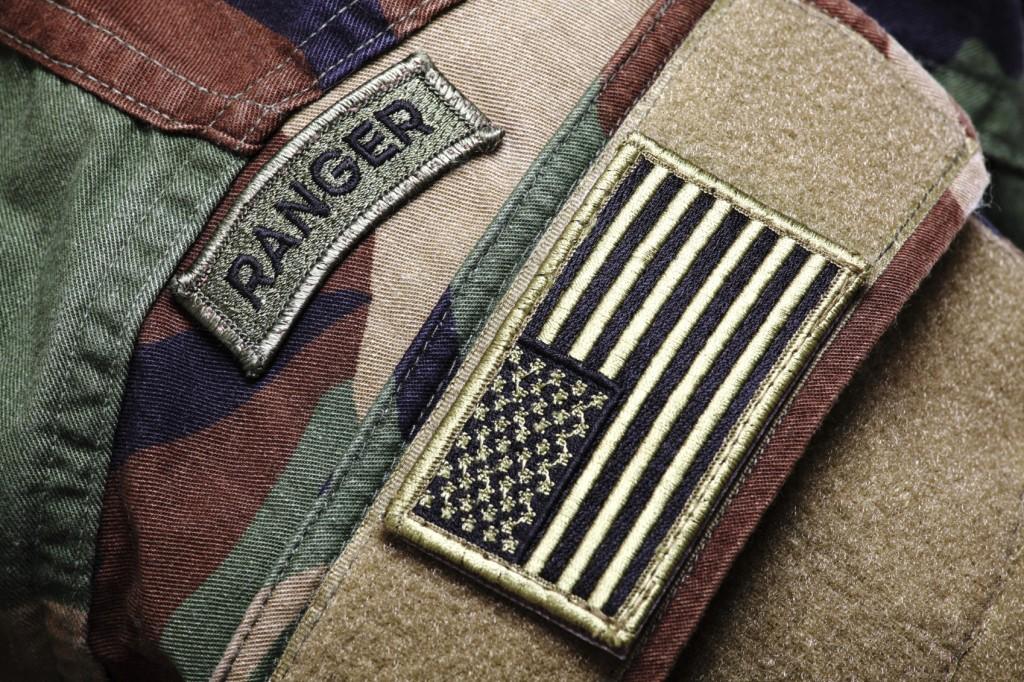 woodland camo uniform)