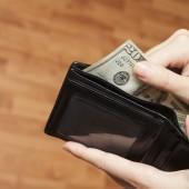Human hand takes money bills from wallet closeup