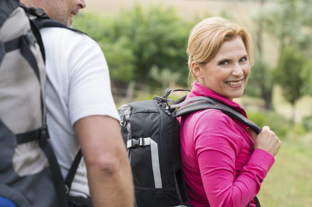 Woman Hiking With Husband