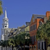 White Steepled Church on the Streets of Charleston