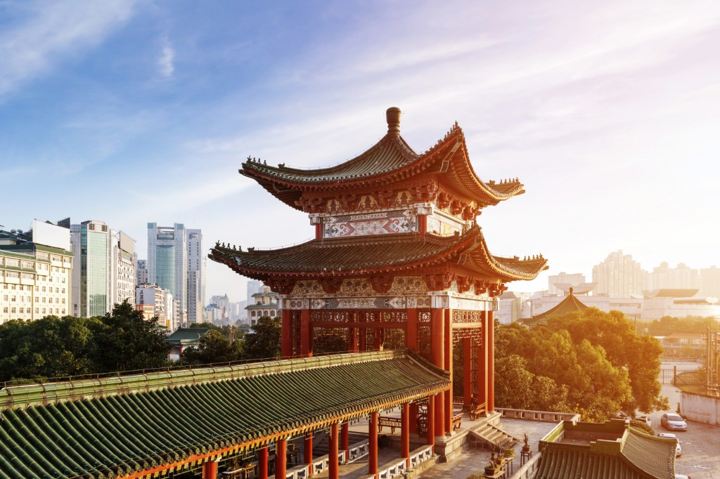 ancient Chinese architecture, Blue sky and white clouds, ancient Chinese architecture