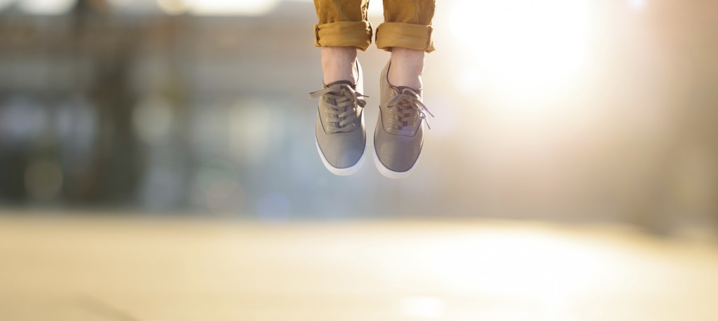 Hipster man feet jumping concept series