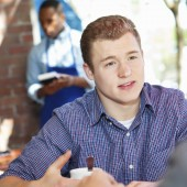 young man in cafe