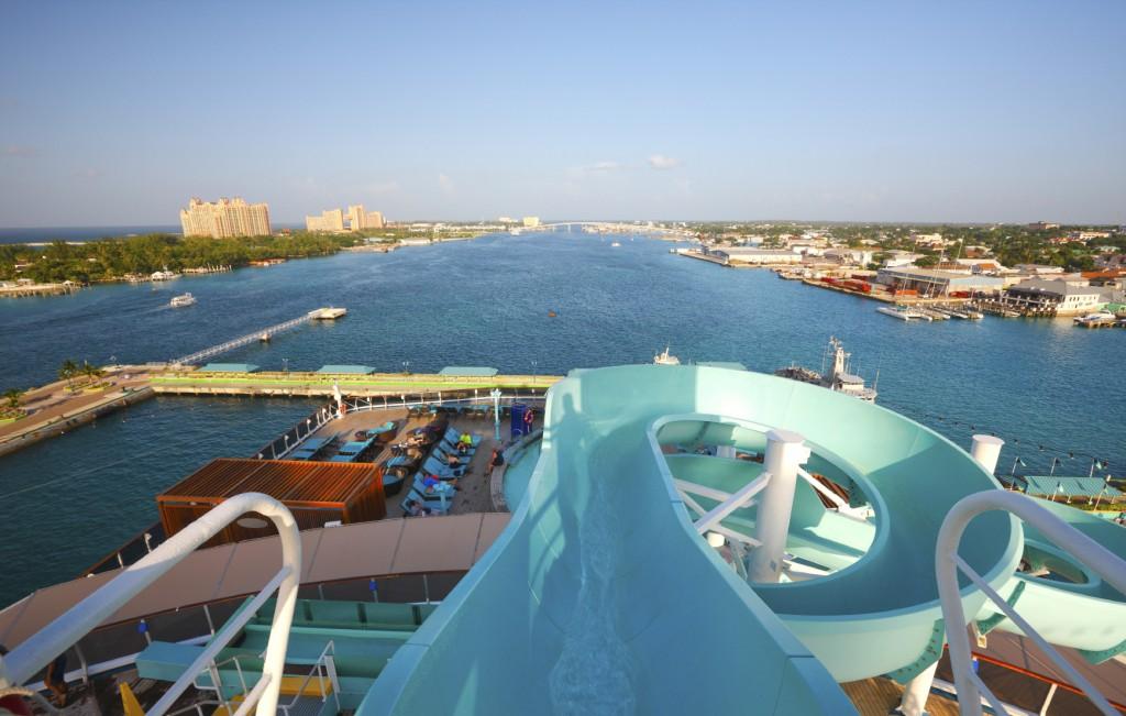 Top of a water slide in Nassau Bahamas
