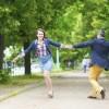 Couple having fun in a park