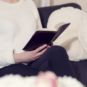 Girl read Bible at home