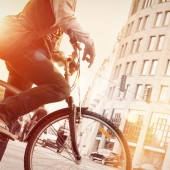 man biking in a city