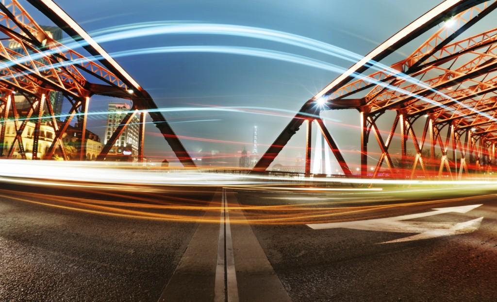 A historic bridge at Shanghai bund night