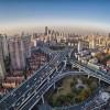 city closeup by fisheye view ,