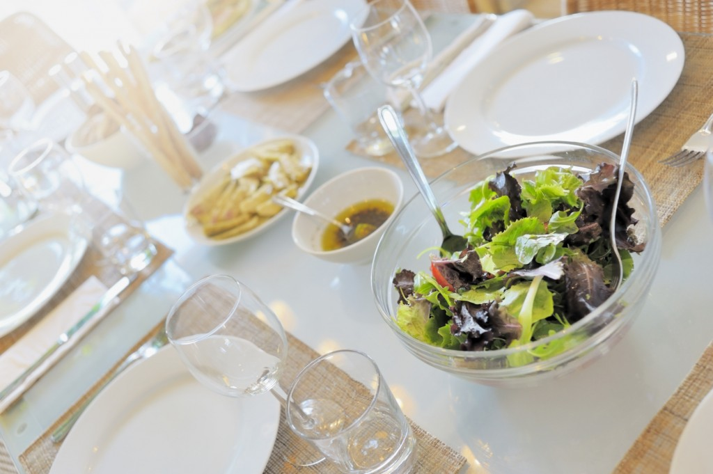 Simple Dinner Party table with Mixed Salad