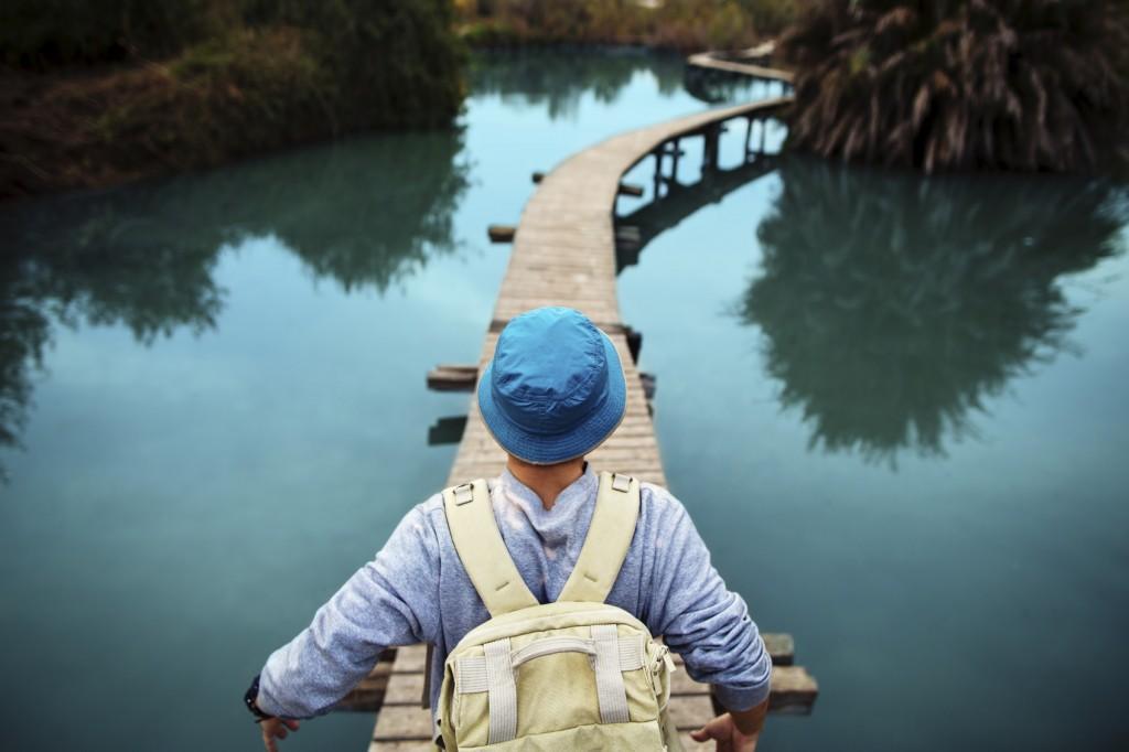 traveler on the blue lake