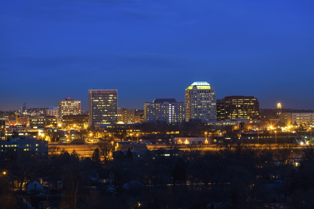 Downtown Colorado Springs at twilight