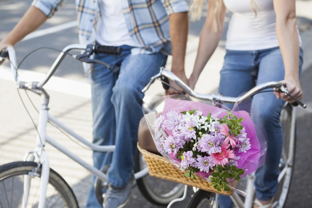 Cute couple on a bike rid