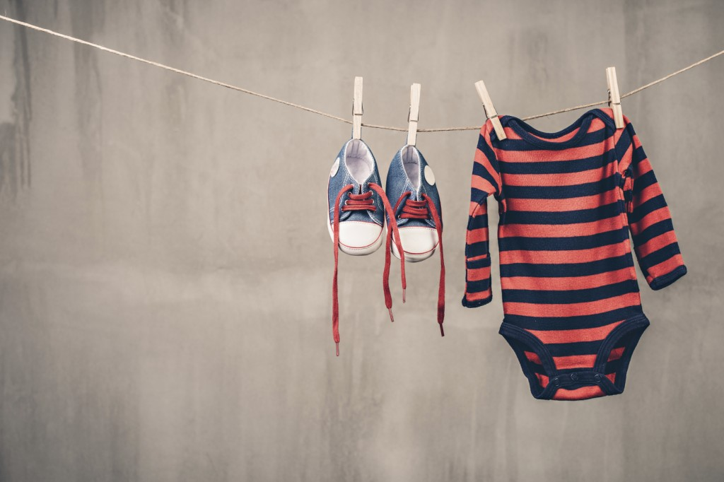 Baby shoes and onesie