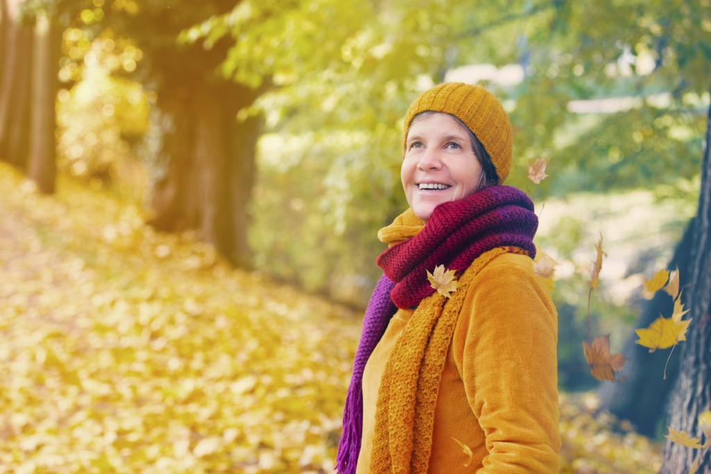 woman in park in the fall