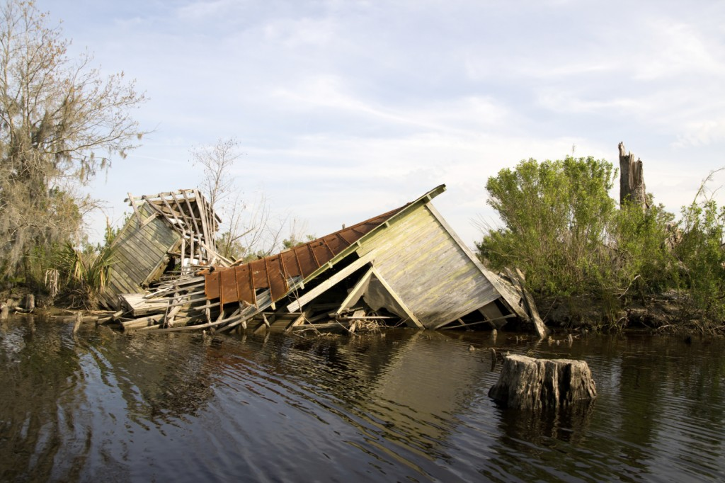 This fishing camp collapsed when the storm surge of Hurricane Katrina flooded the Manchac Swamp,