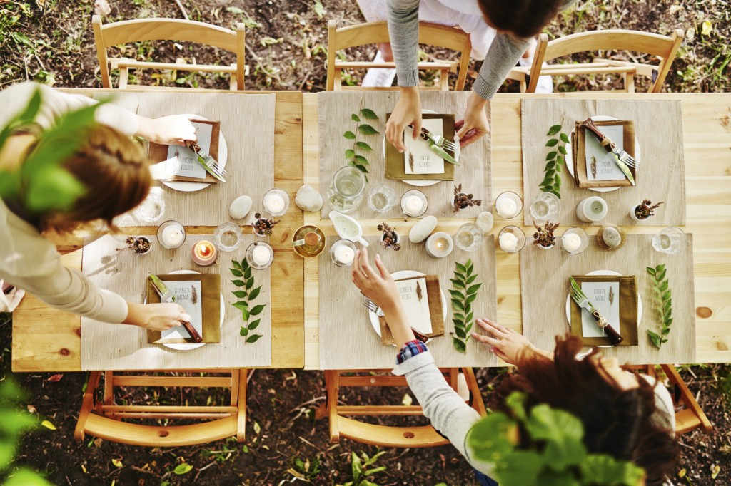 Serving festive table