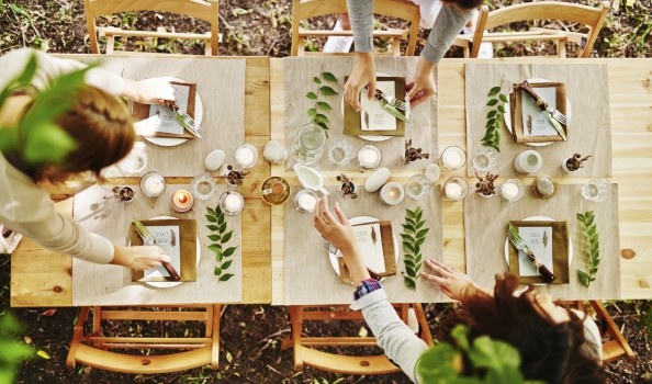 Serving festive table