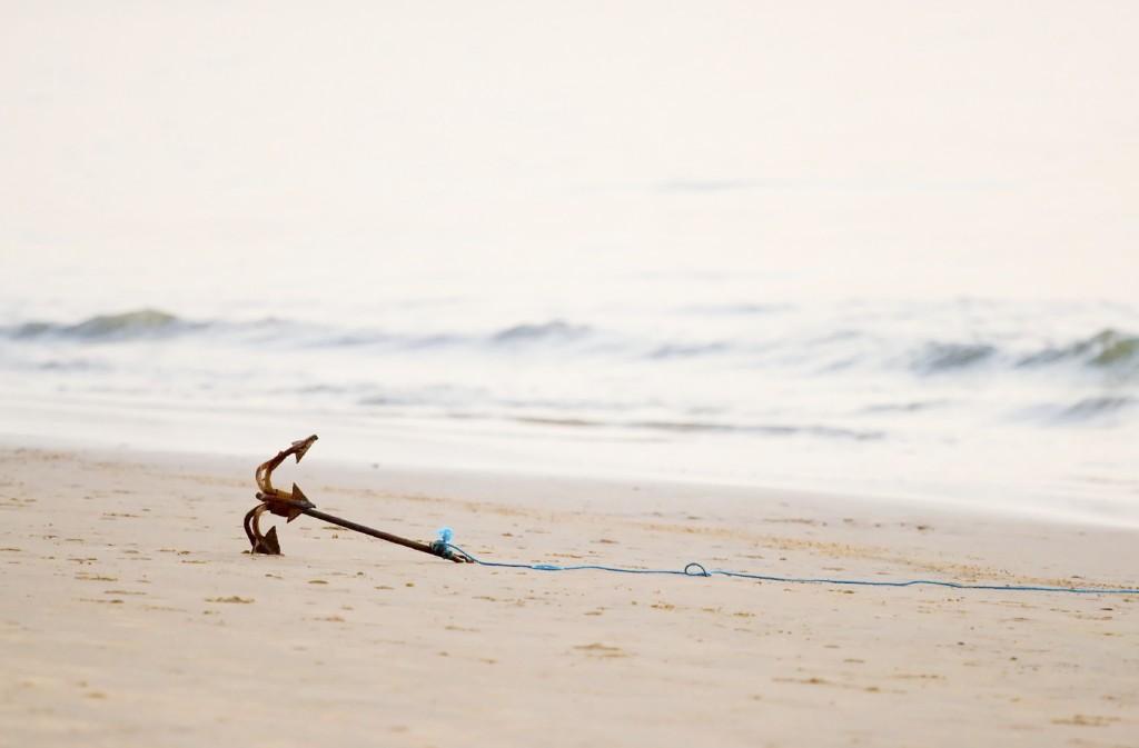 anchor on the beach