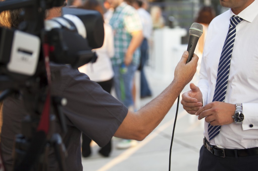 tv interview with businessman